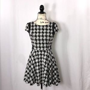 {City Studio} Houndstooth skater dress